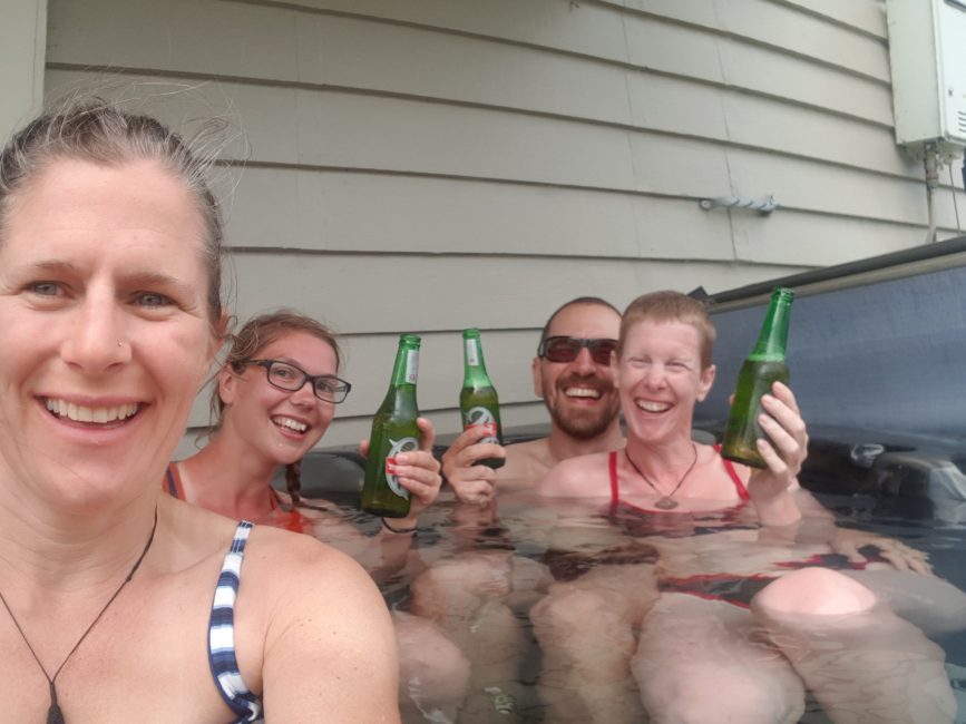 Beers and a hot tub on Te Araroa Trail