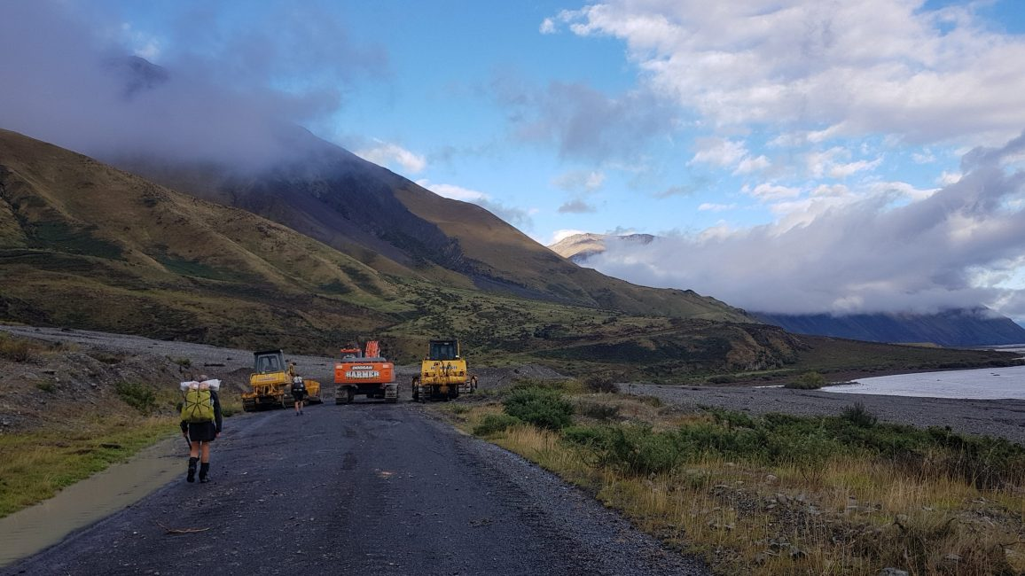 Te Araroa Trail Day 136 - Landslide lineup of diggers, as the Methven school bus dropped us off