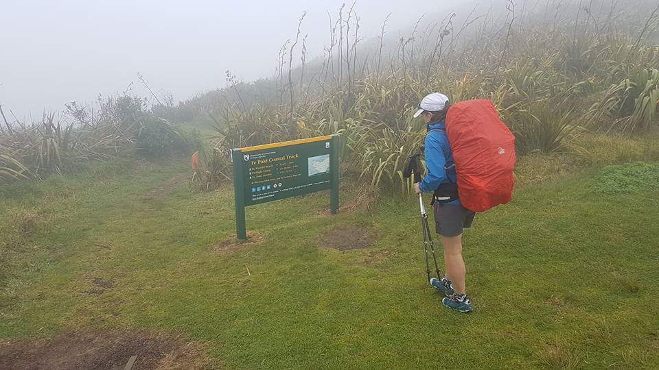Tinytramper about to set foot on Te Araroa Trail Te Paki Walkway Cape Reinga