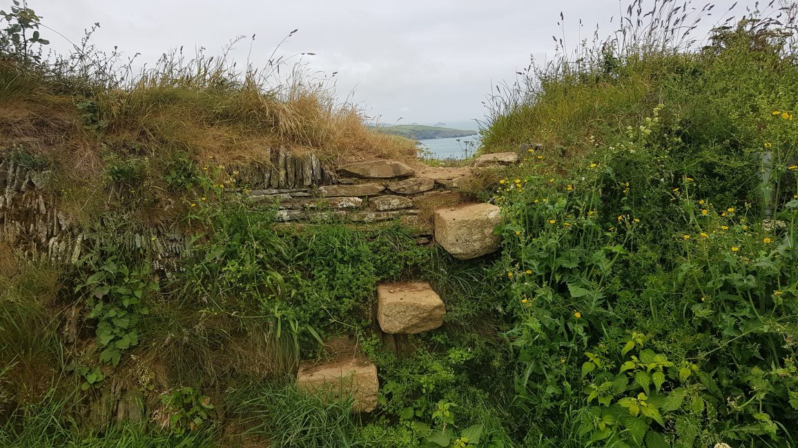 Steps in the stone walls