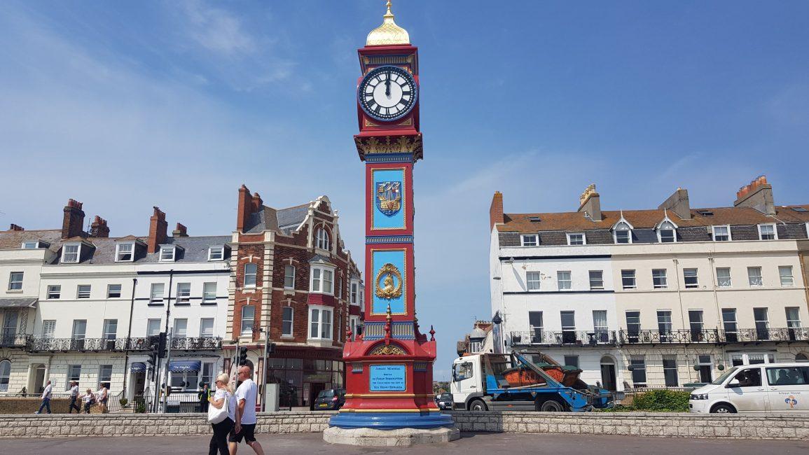 Weymouth's clock tower on the promenade