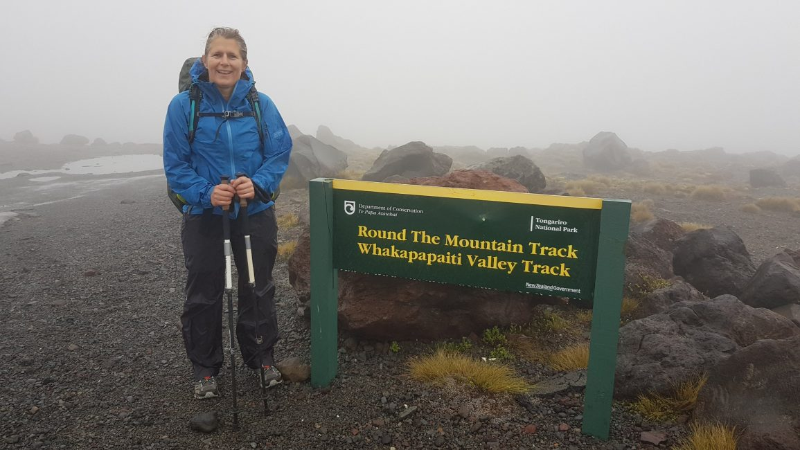 Tinytramper on a wet start to the Round the mountain track Ruapehu