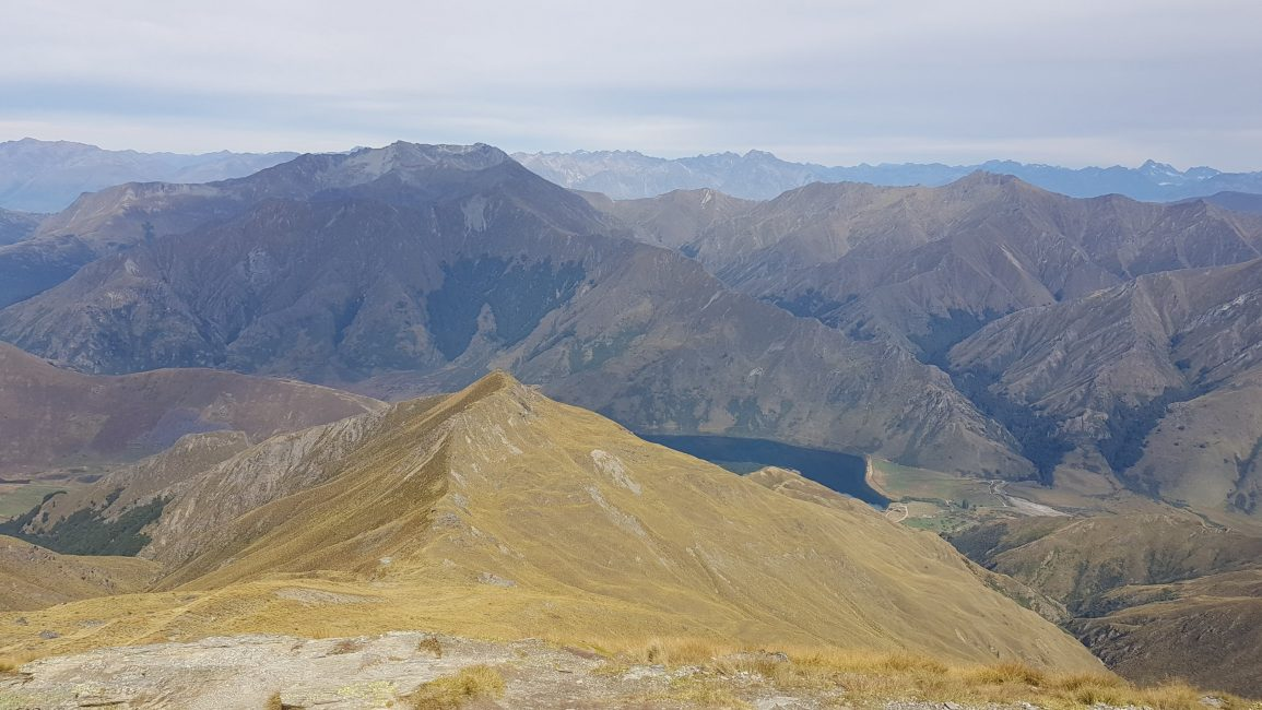 The view from the summit to Lake Moke