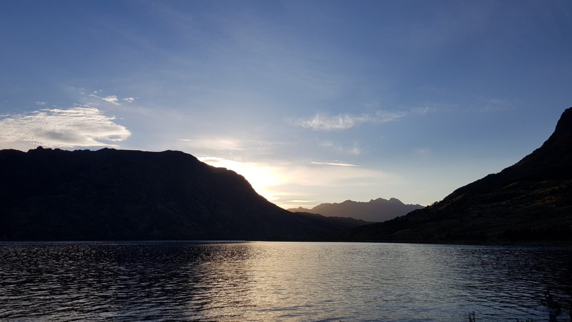Sunset over lake Hawea from Kidds Bush
