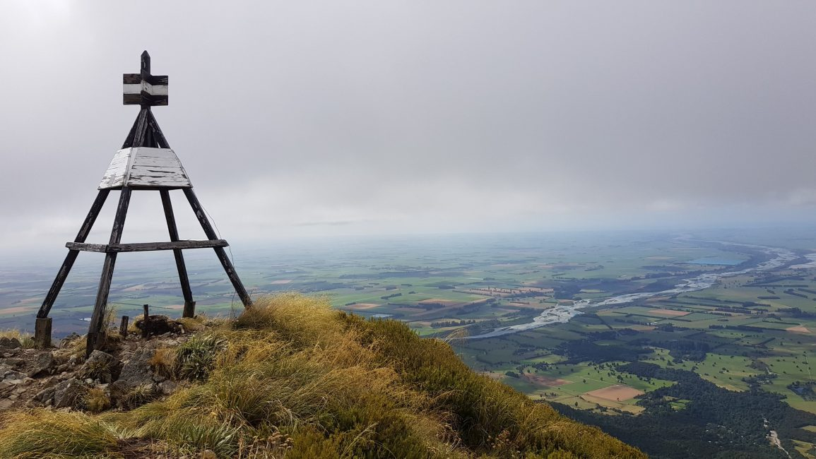 Little Mt Peel trig over the Canterbury plains
