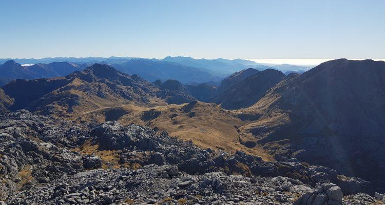 Views North from Mount Owen summit Kahurangi National Park