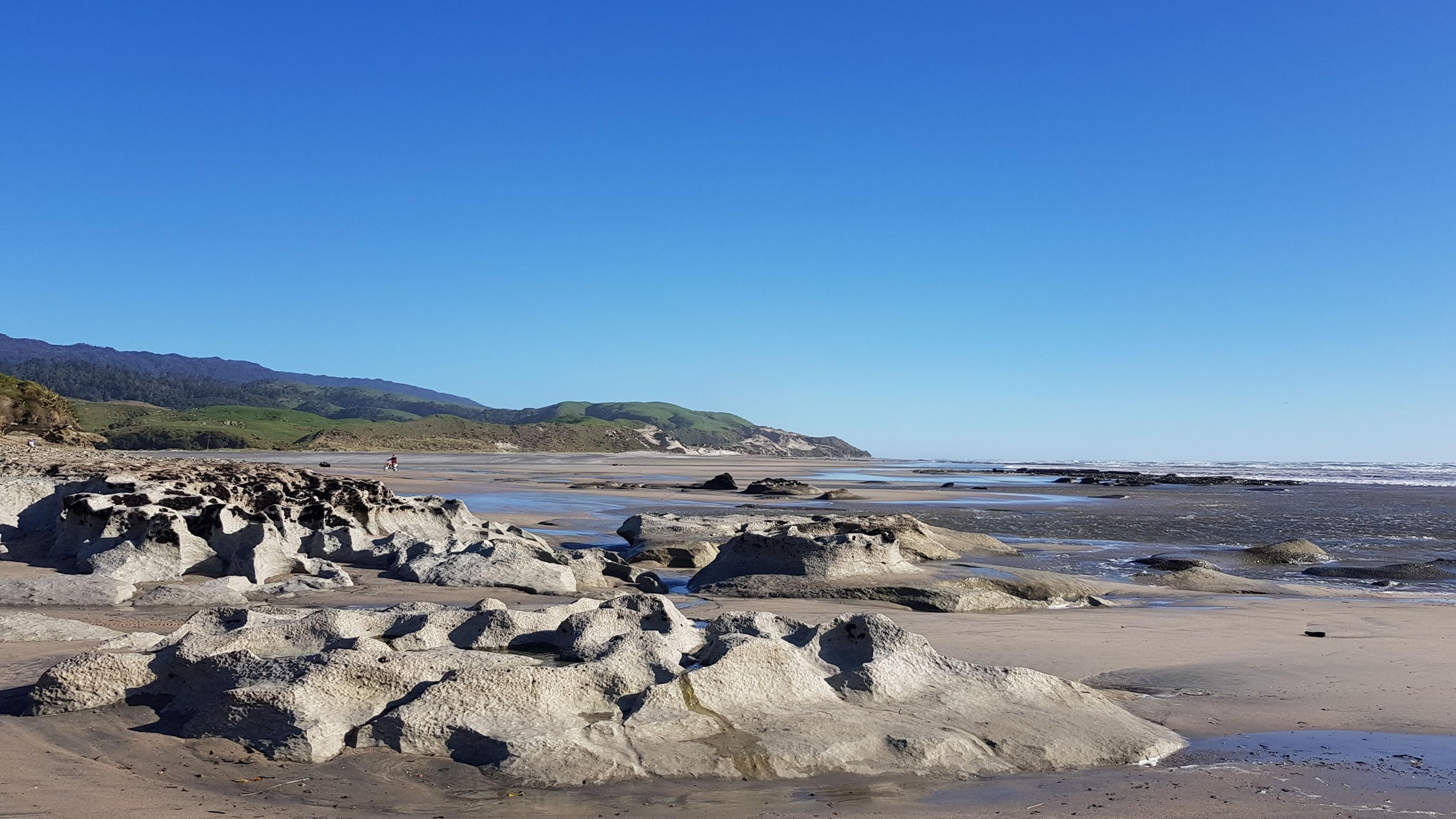Sea- sculpted rock platform towards the Anaweka River mouth