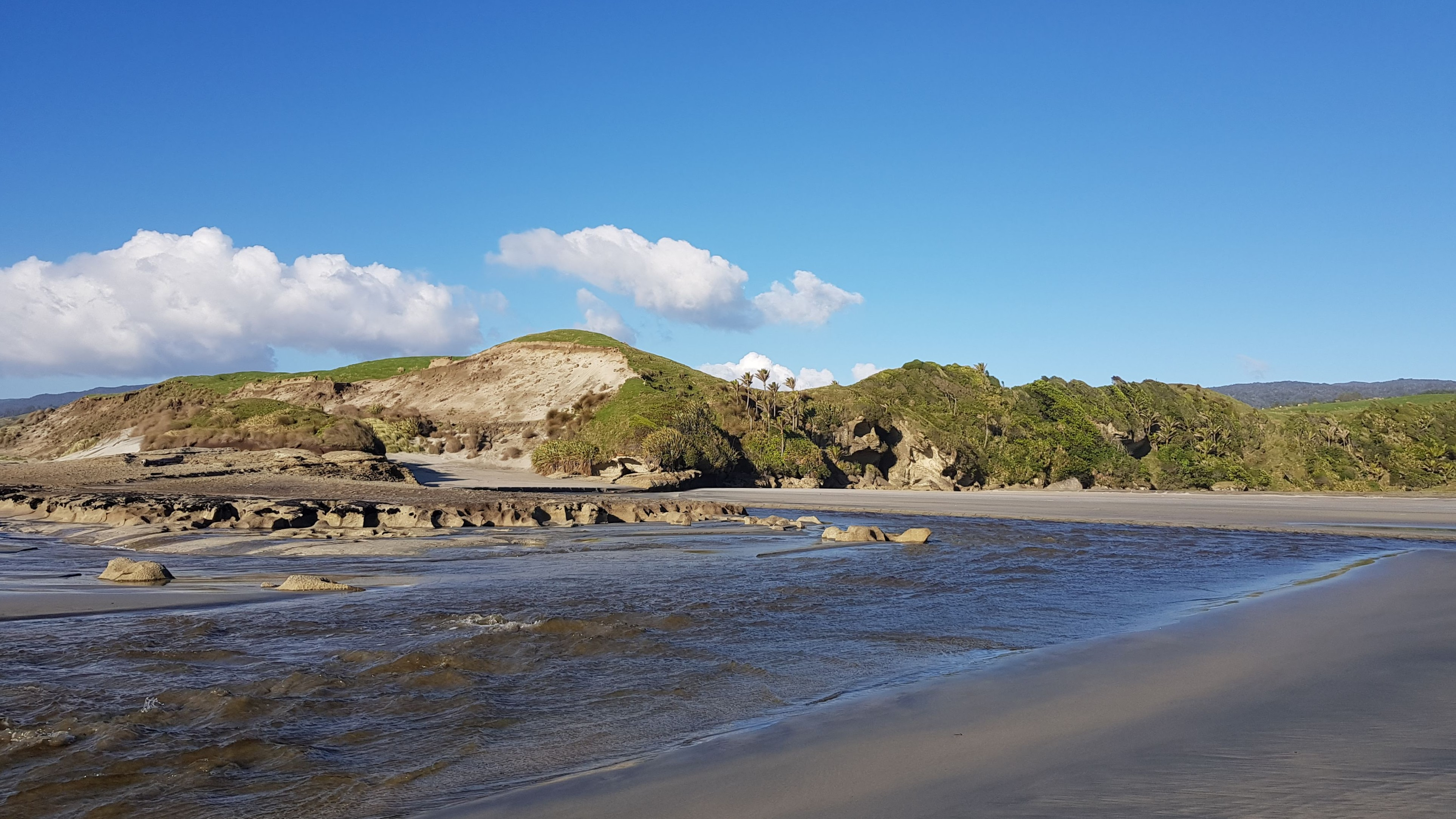 The Anaweka River mouth at low tide