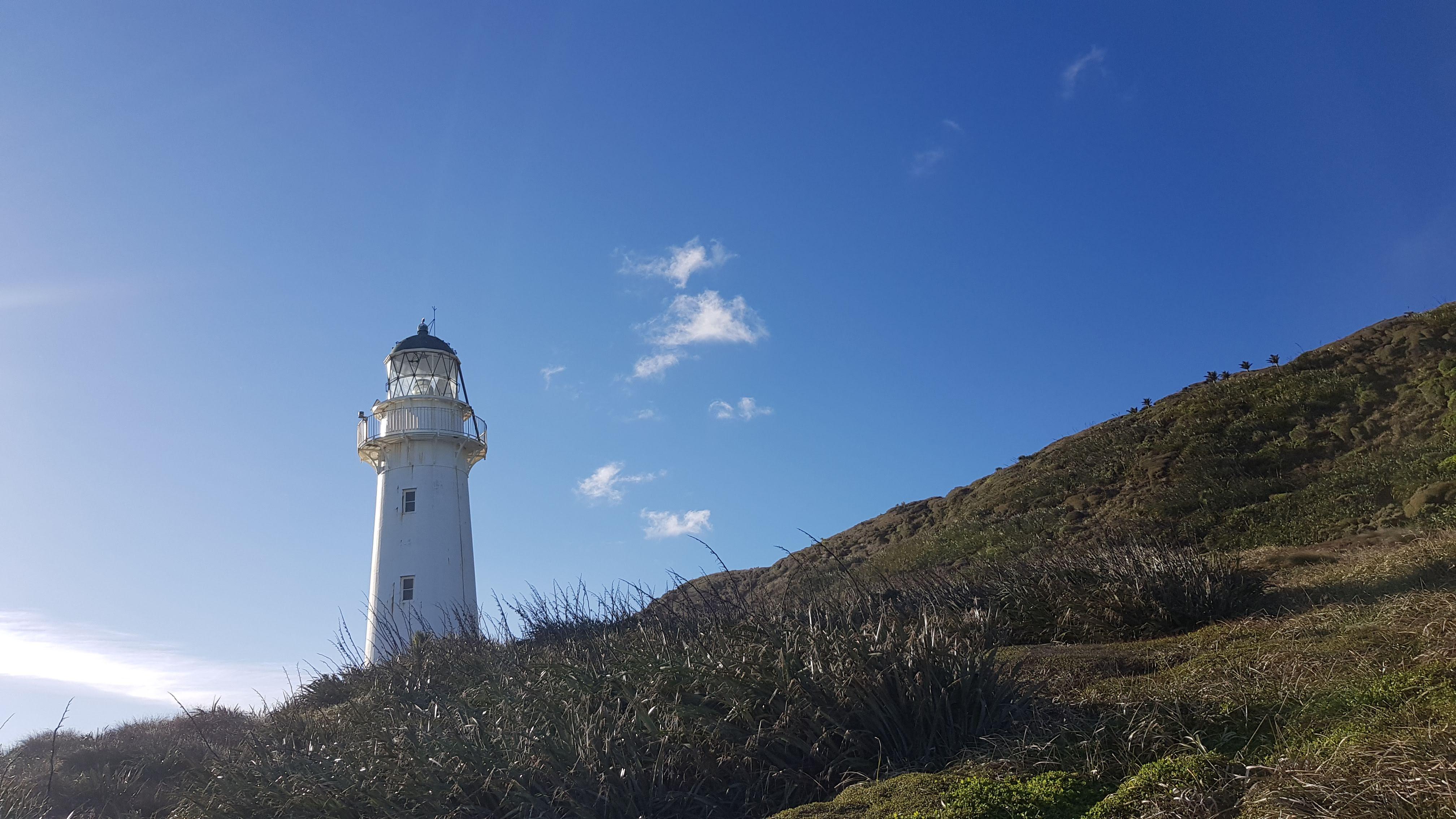 Looking up at the Kahurangi lighthouse