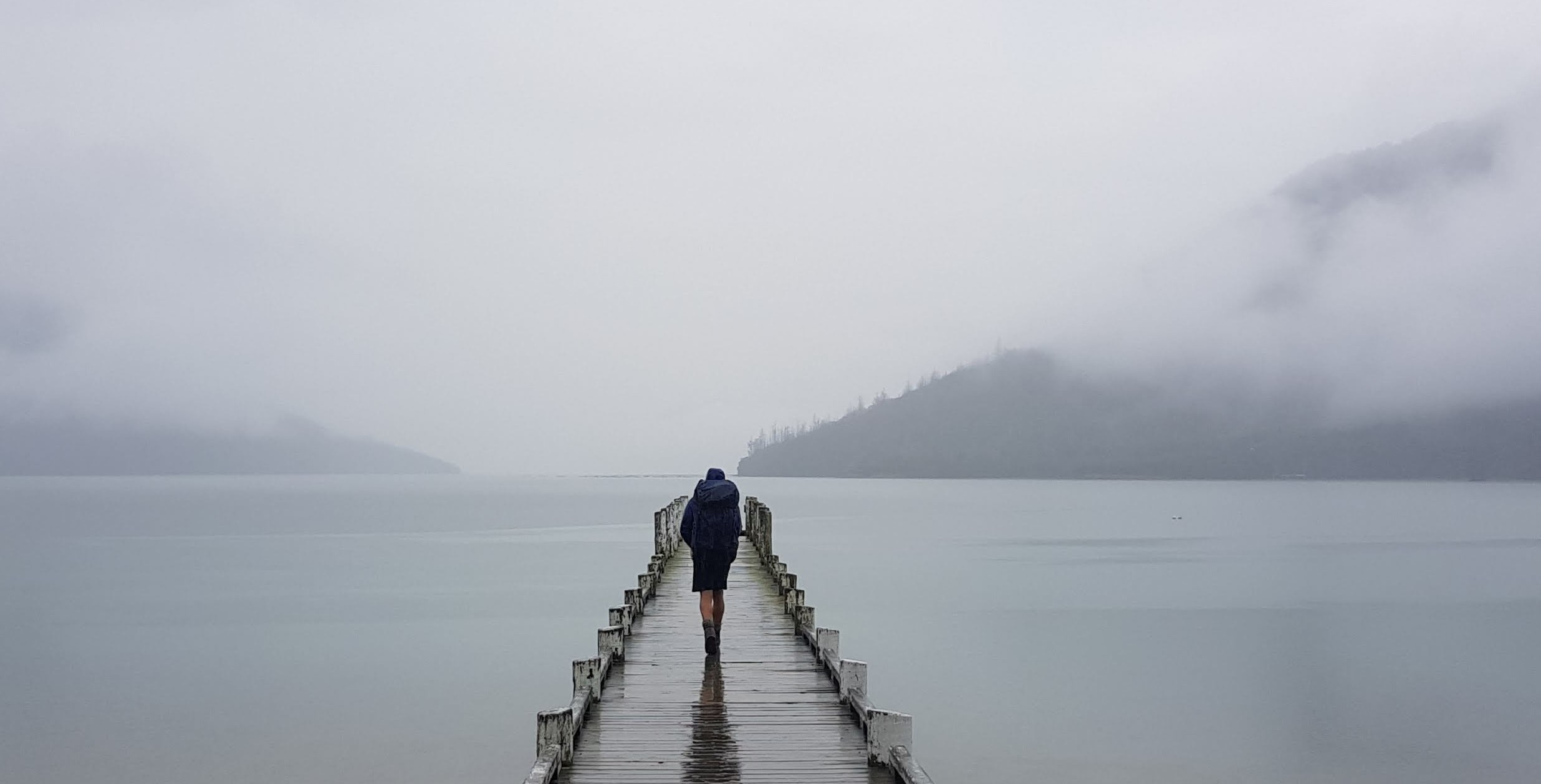 Misty jetty on the Nydia Lodge Track