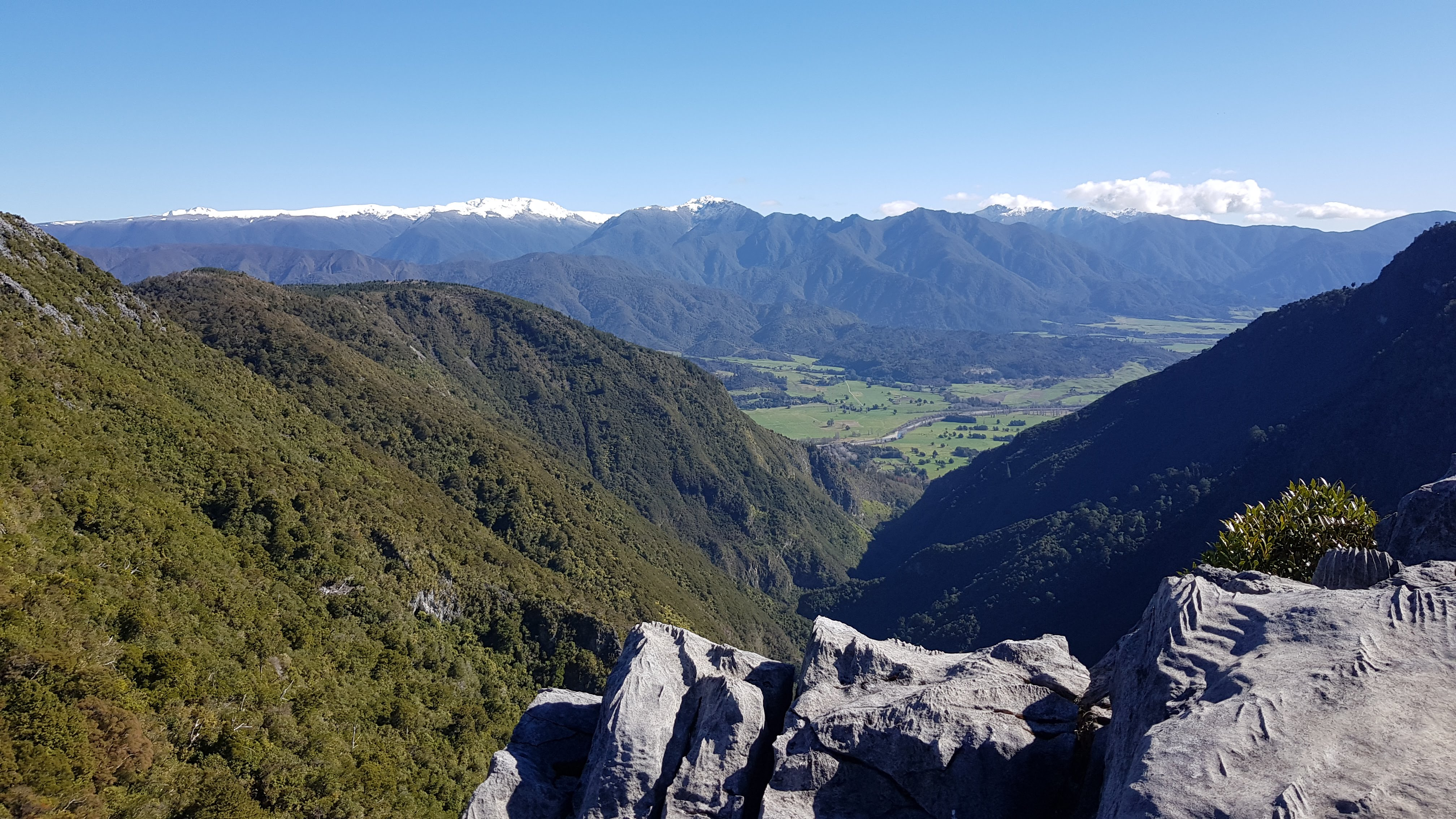 Gorge Creek and the mountains of Kahurangi National Park, from the lookout