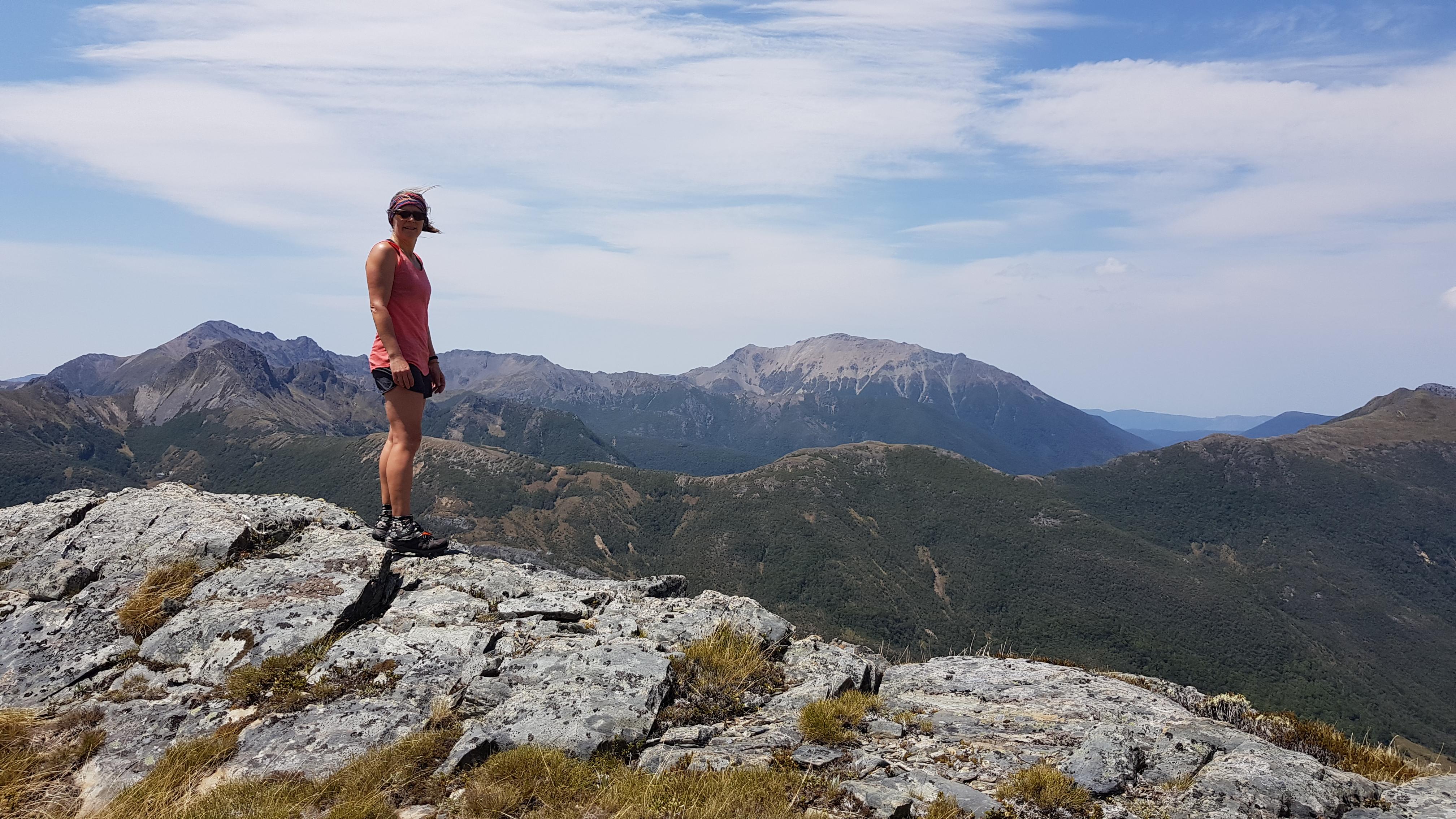 Enjoying the views across to the Lockett Range from the Peel Range