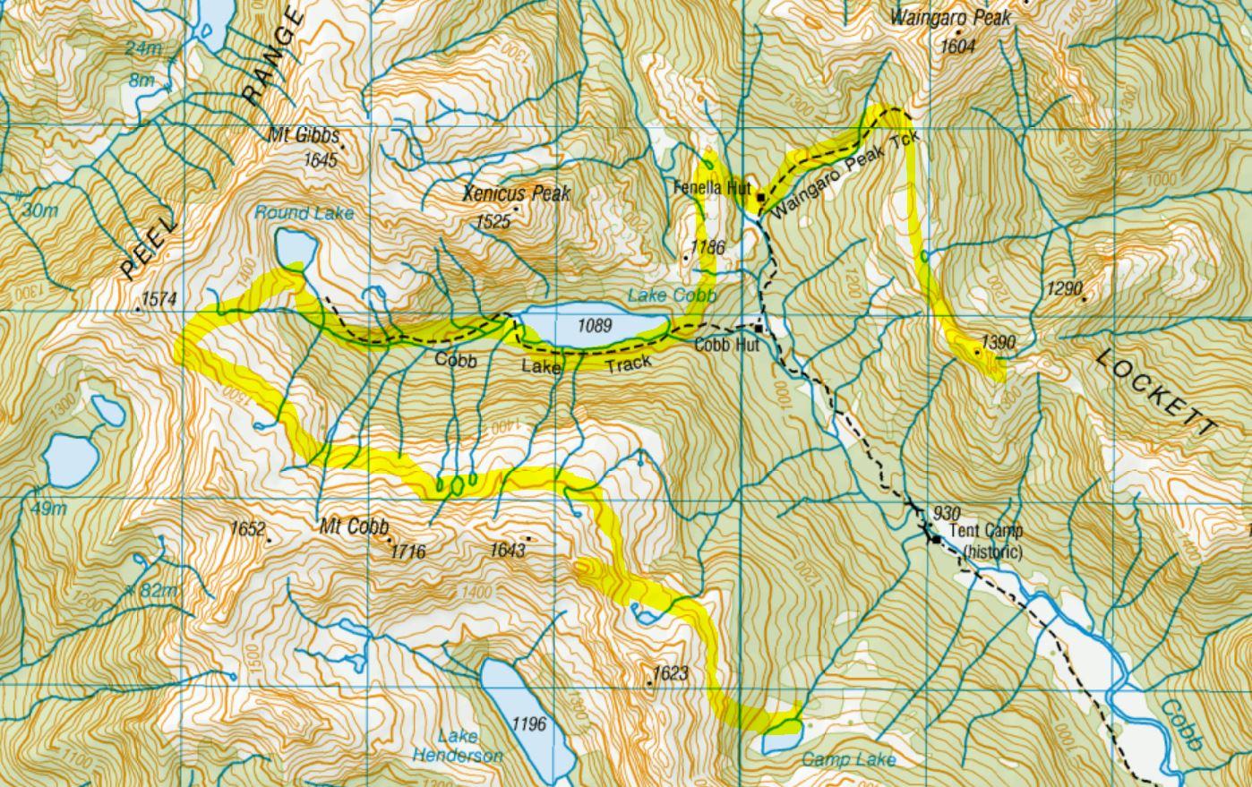 Day 2 - Waingaro Peak Track to Fenella hut, Lake Cobb, Round lake to Camp Lake