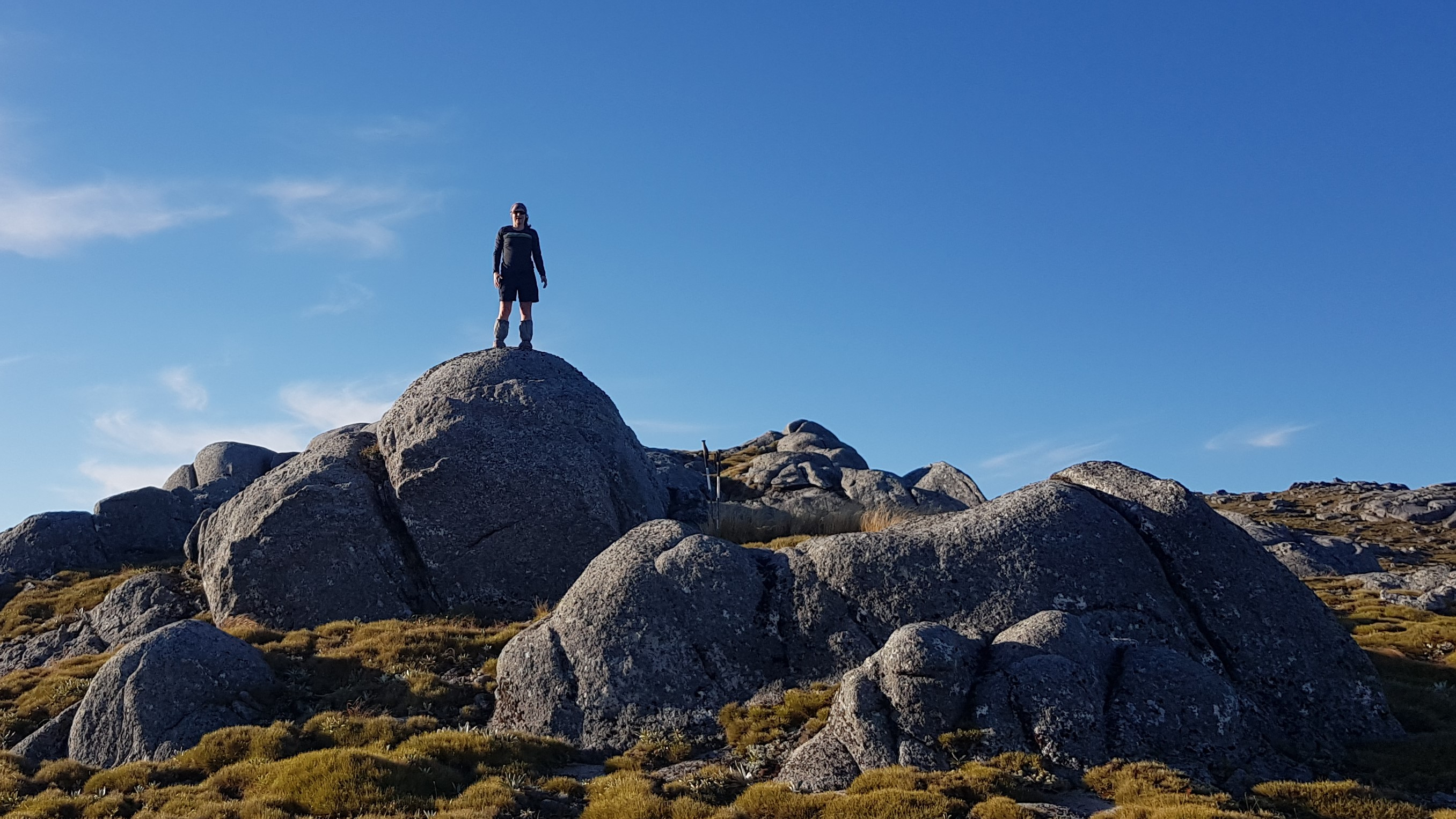 Climbing boulders on Buckland Peaks