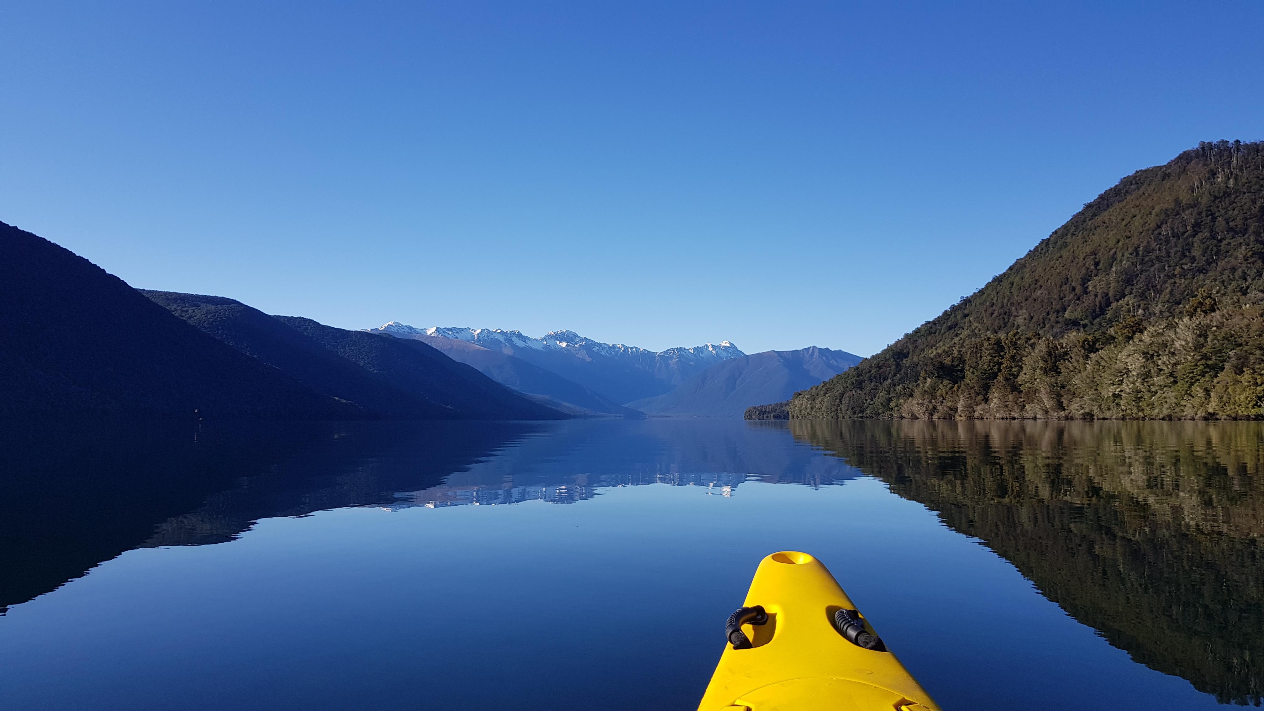 Paddling Lake Rotoroa to D'Urville hut
