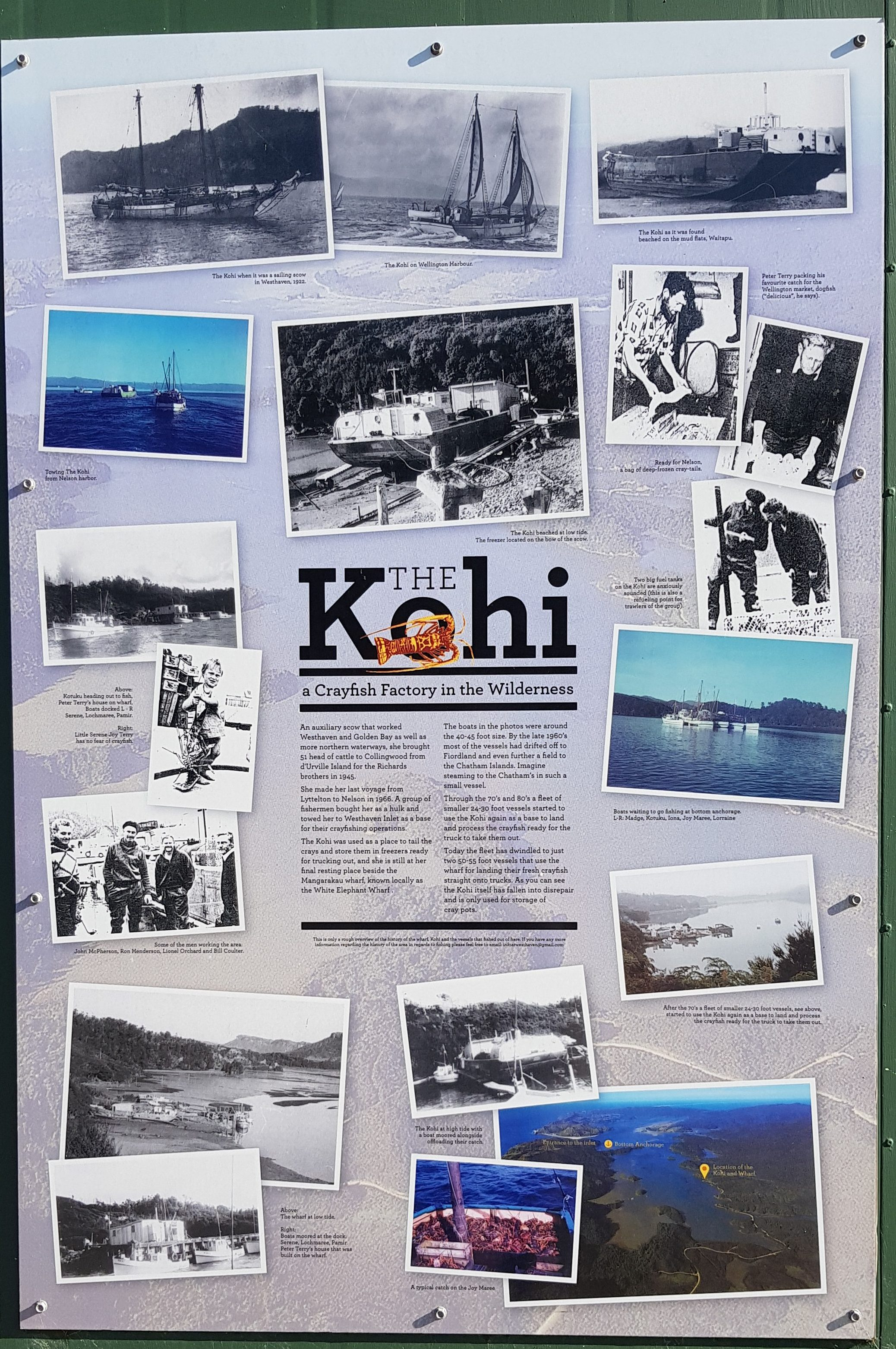 Information board the Mangarākau Wharf