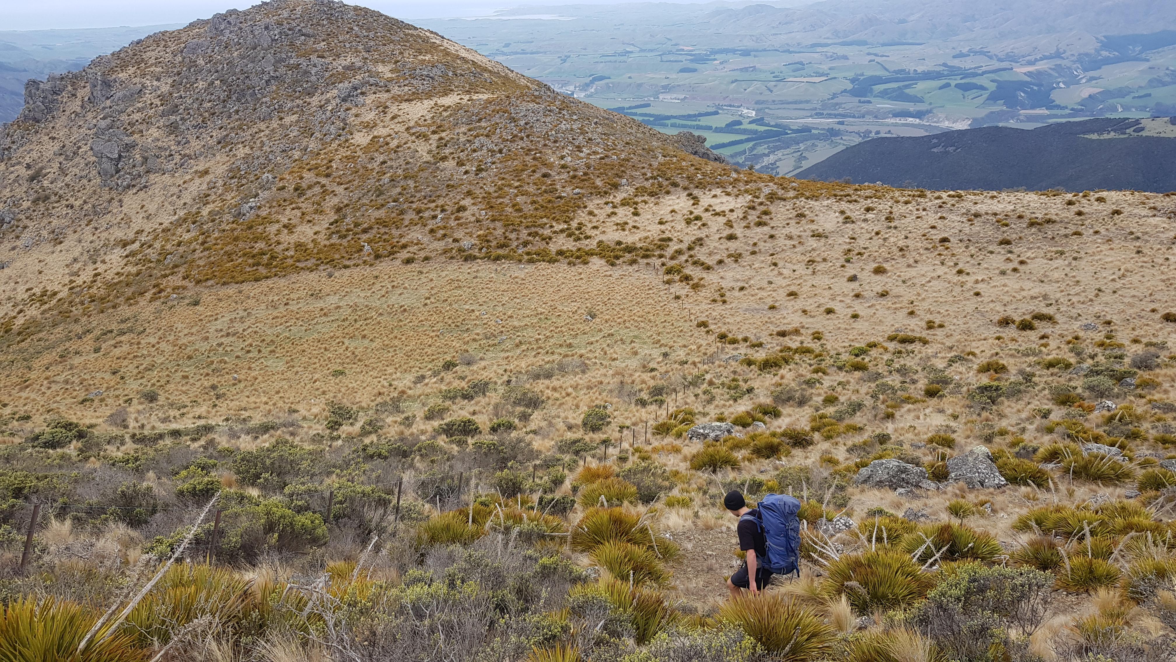 Heading down the Blairich range