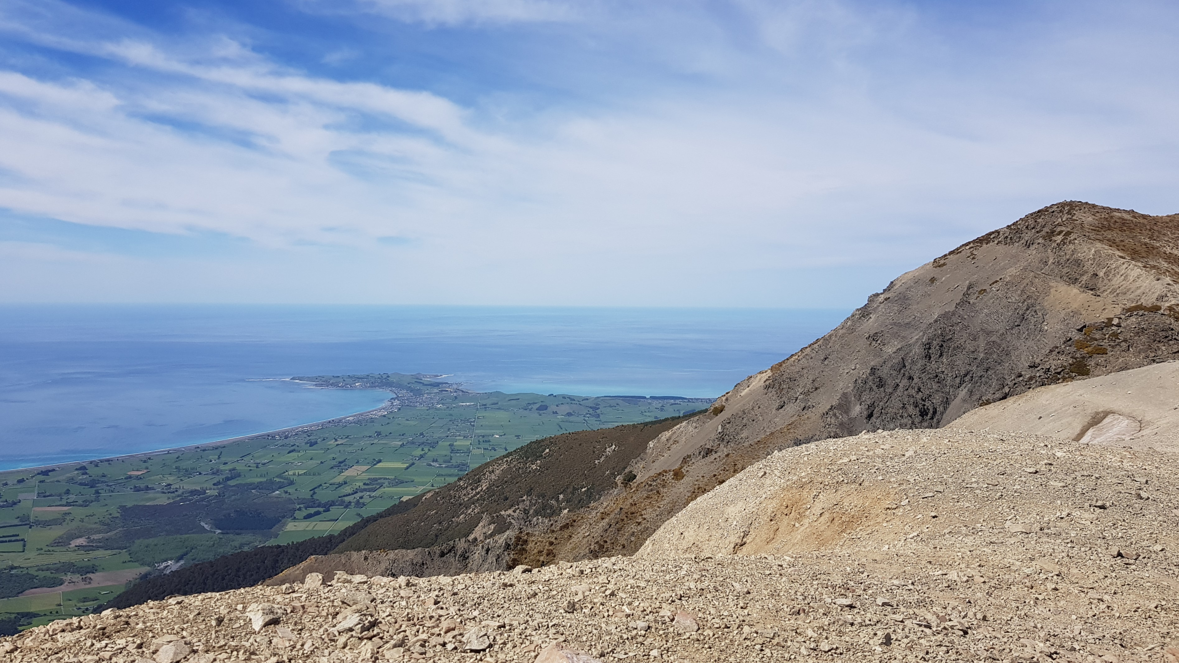 Kaikoura township from the Mt Fyffe-Gable ridge