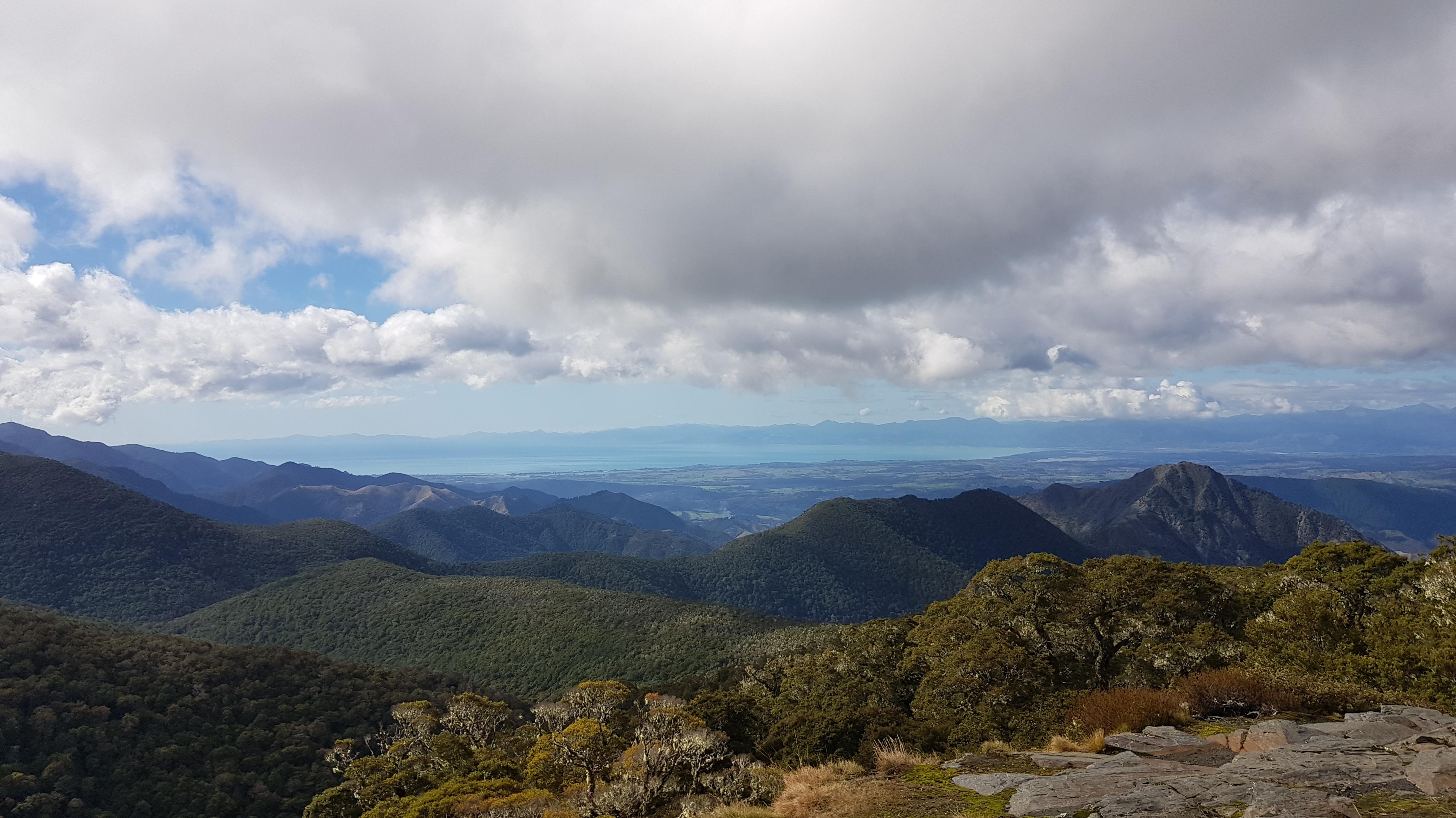 Tasman Bay view from above Mt Arthur hut